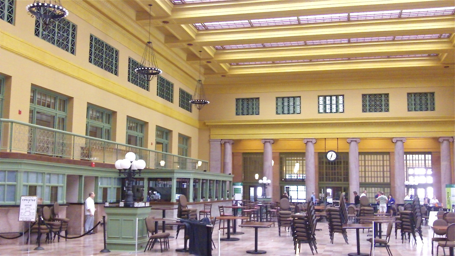 Inside Union Depot, near the Jazz Festival