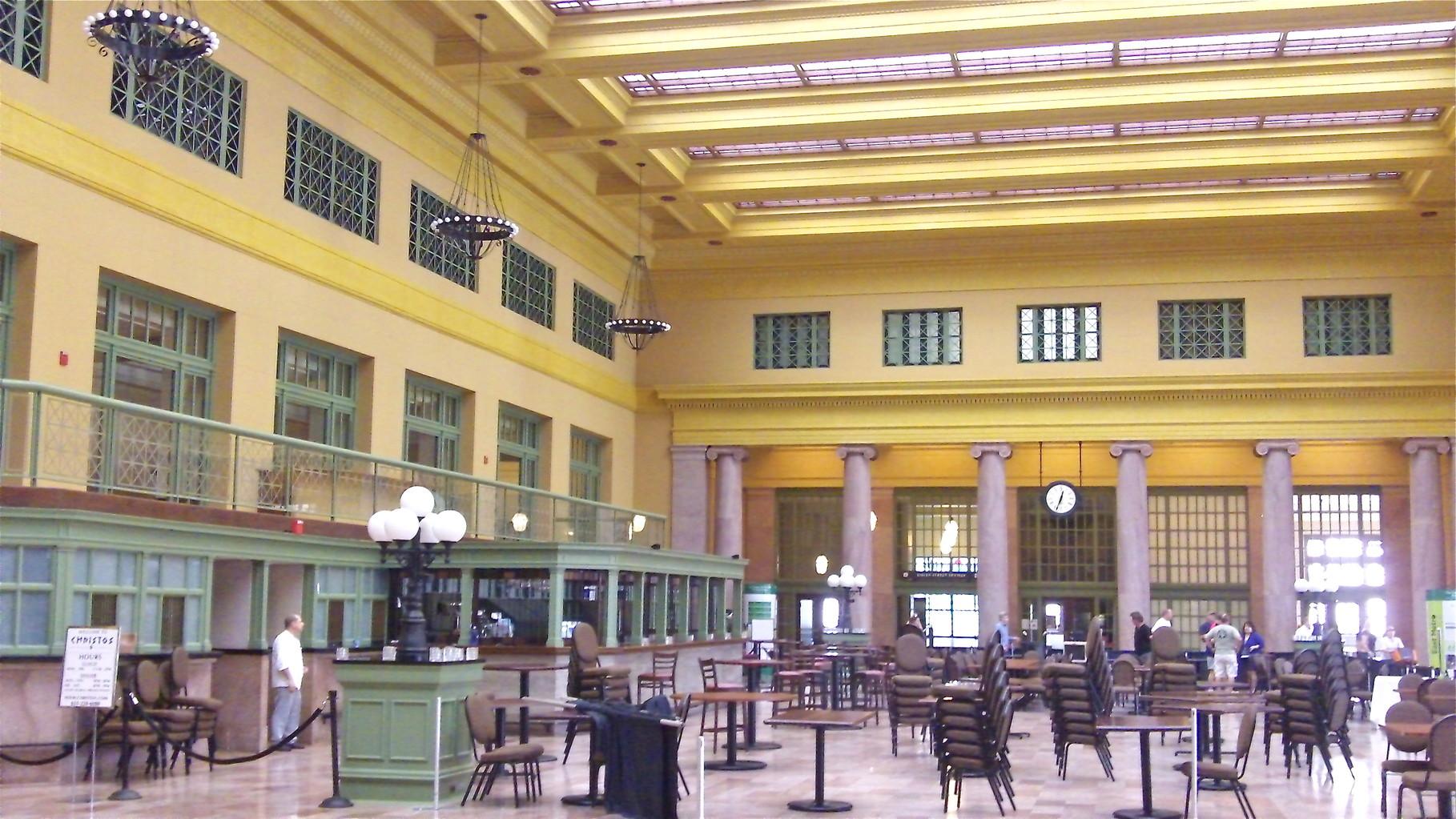 Inside Union Depot, near the Jazz Festival