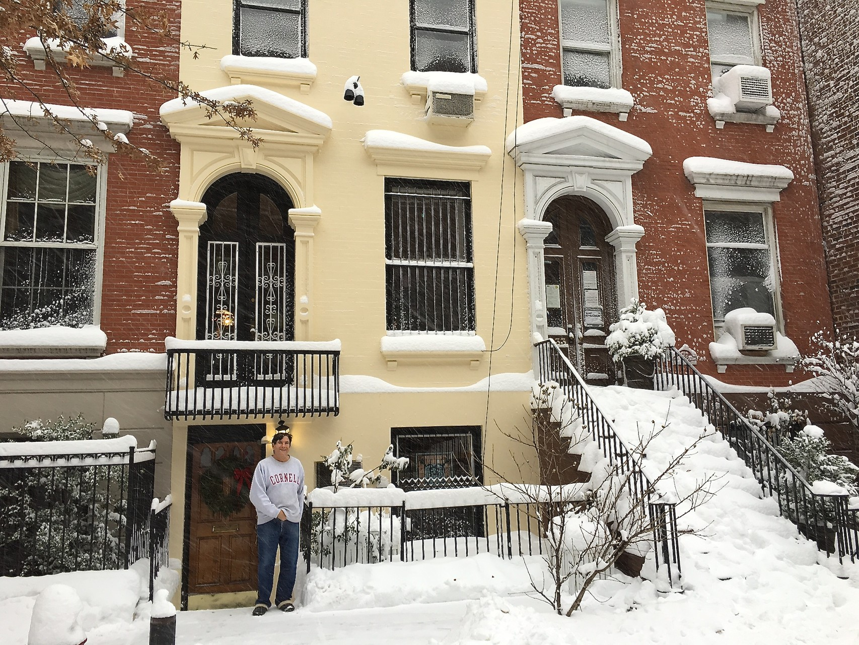 Blizzard in NYC, January 23, 2016; John in front of our house.