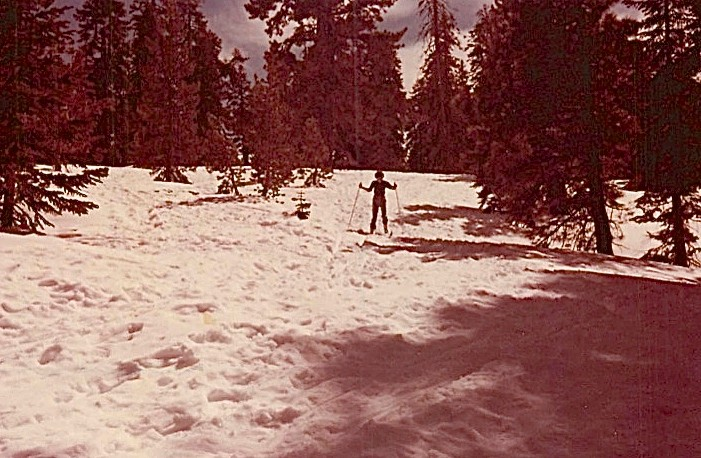 Barbara Levinson cross country skiing, March, 1979 Yosemite