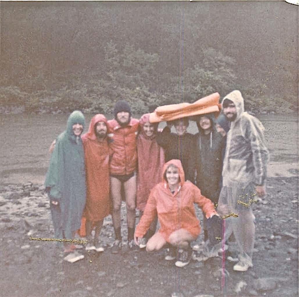 Rogue River, Oregon rafting, Sept. 1978 Janet Munson, Crispin, Reg Kelly, Suzanne Pfeffer, Joan Hooper, Steve Carlson, John Wagner. Lorraine Gudas in front...
