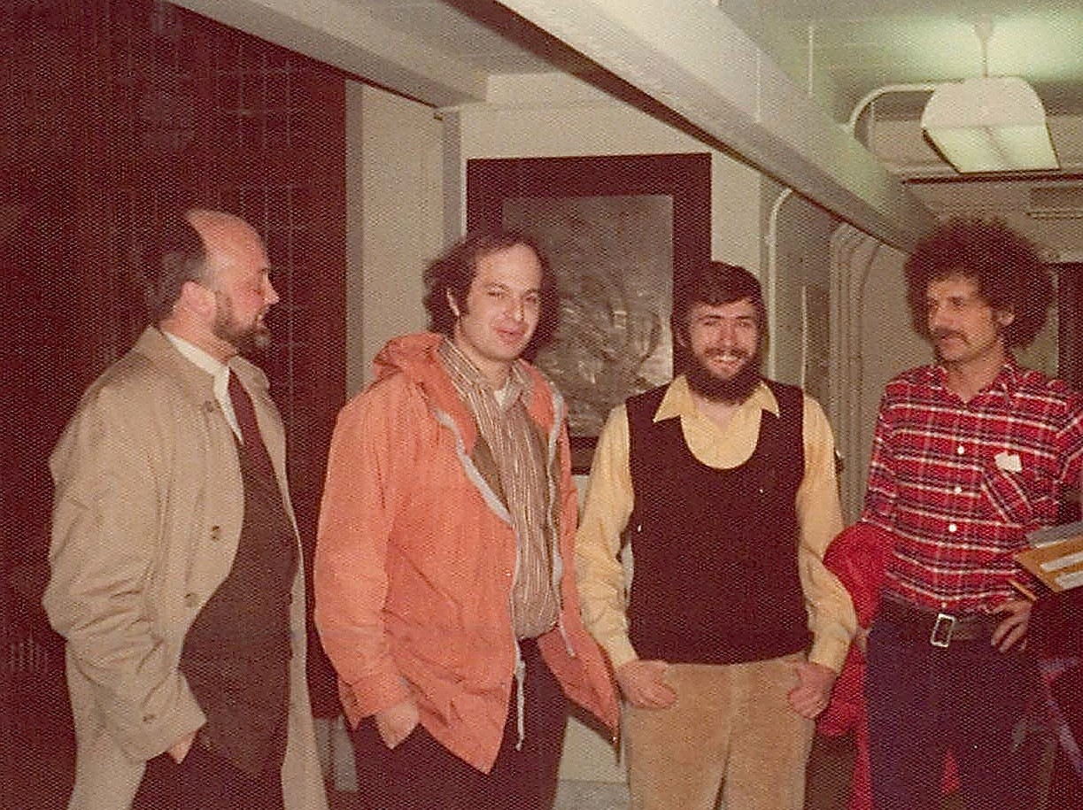 Drs. Robert Langridge, Mark Kirschner, John Wagner, Uli Laemmli at John's thesis defense, 1975 Princeton Univ. Biochemisty