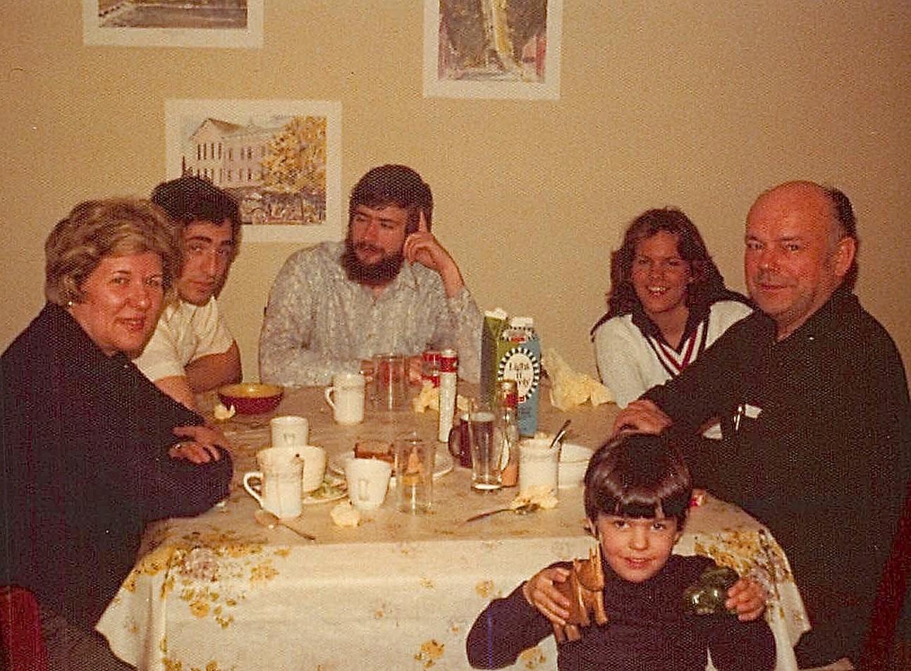 Thanksgiving 1974 Eleanor Gudas, Murray Weingarten, John, Celeste, Al Gudas, Wayne in front..Princeton Univ.
