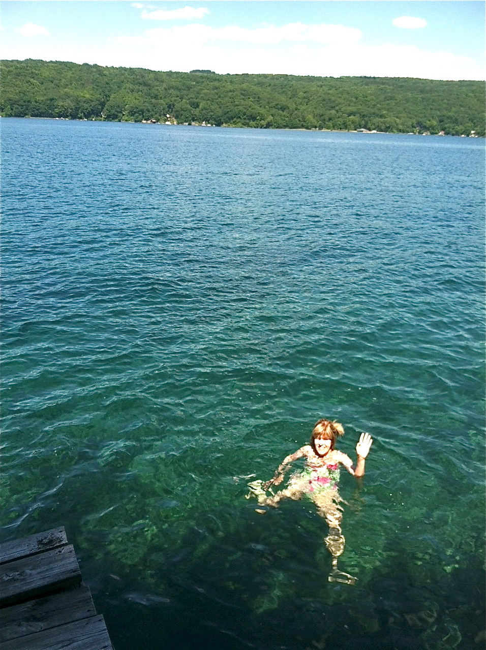 Nancy swimming, Skaneateles Lake