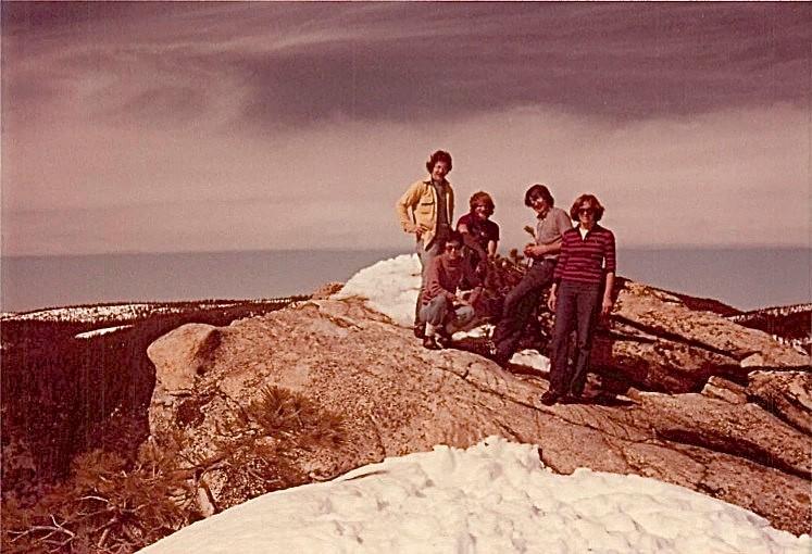 Guy Weinberg, Barbara Levinson, Buddy Ullman, Dave Martin, Lorraine Gudas, March 1979 Dewey Pt, Yosemite