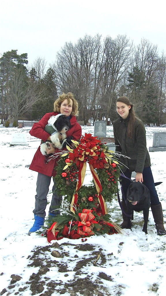 Lorraine & Ellie at Al's grave, Dec. 28, 2013..(Al's birthday)
