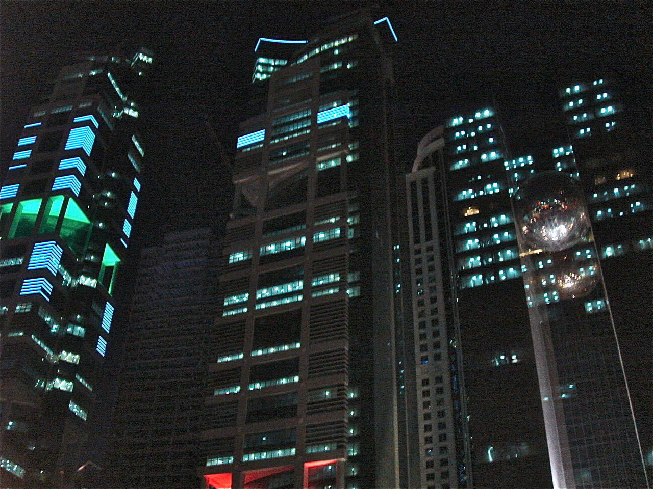 Lights on buildings at night, Downtown Doha