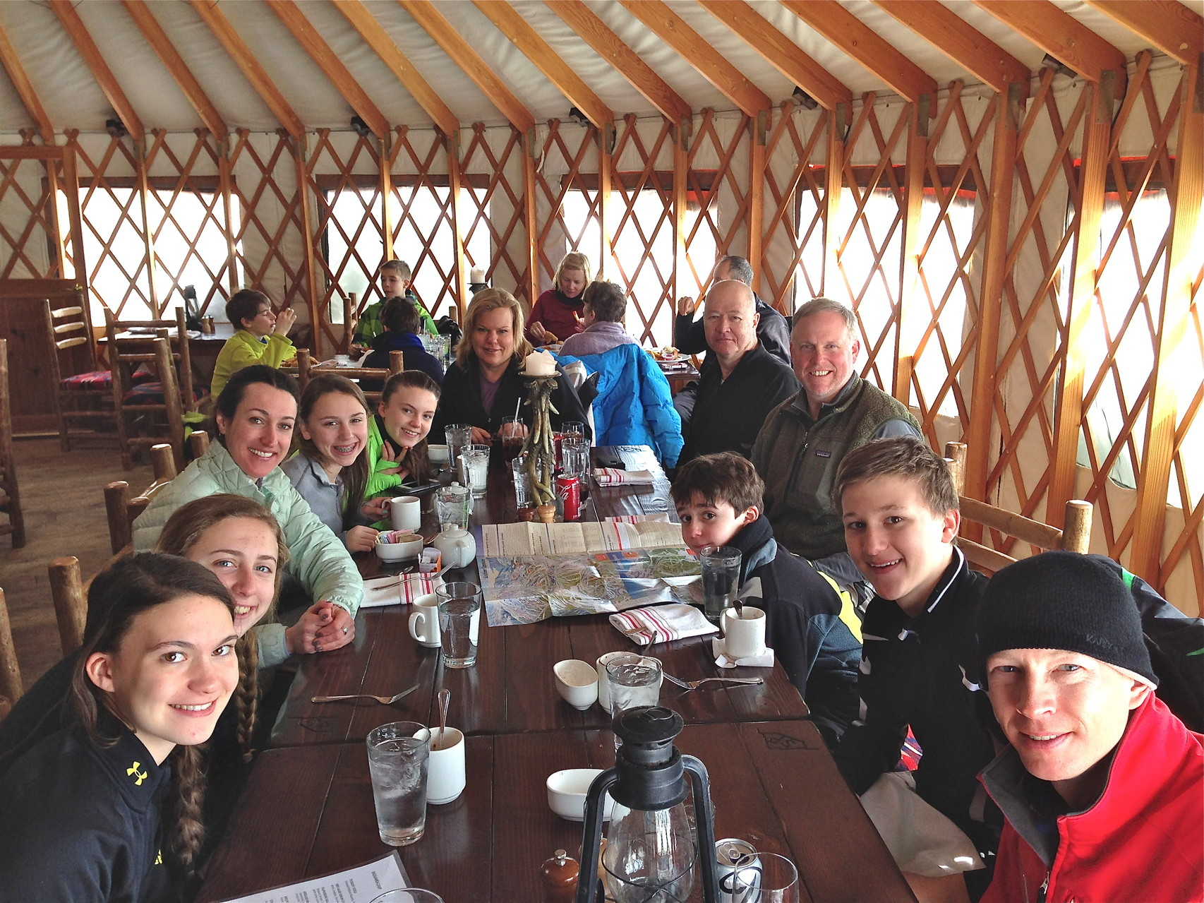 Ellie, Emma, Dash (instructor), Gabby, Kate, Celeste, Jack Donohue, Stuart Jr,Stuart 3d,  Jack Kagel, & Mike (instructor) at the yurt for lunch, last day