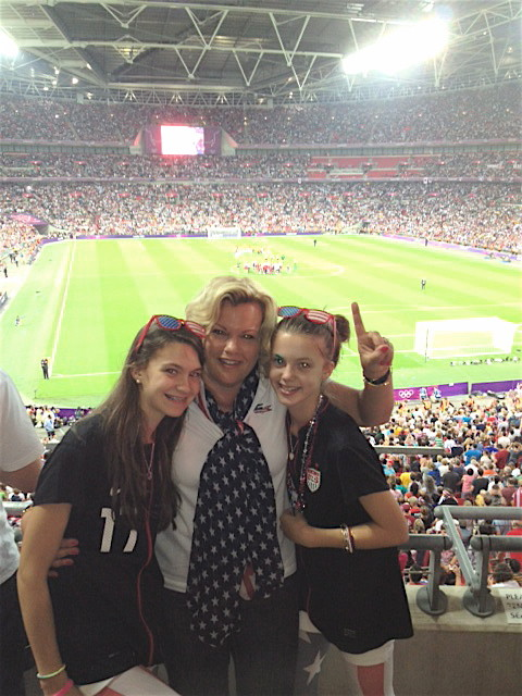 Ellie, Celeste, & Kate at Wembley Stadium, Gold medal match, USA v. Japan