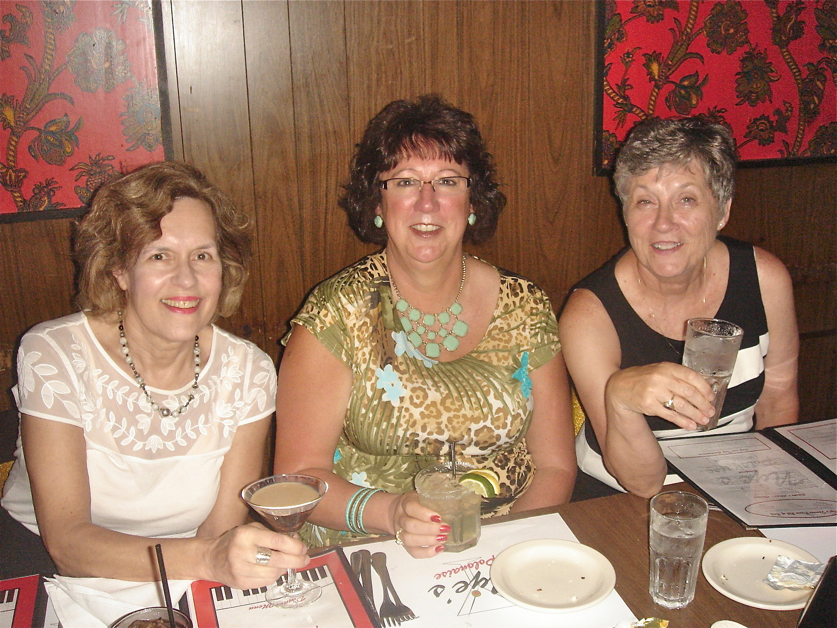 Lorraine Gudas, Jill Wagner, Cindy Wagner; Lorraine has a chocolate martini.