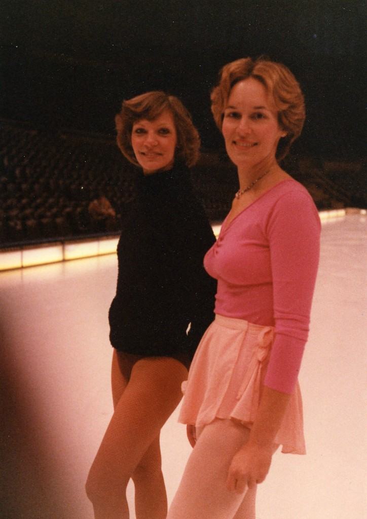 Lorraine with an Ice Capade troupe member, 1980, Oakland Coliseum; Lorraine skated with the Ice Capades for a TV skit on CBS