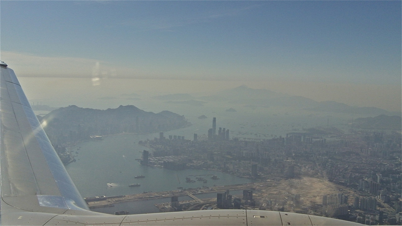 Flying into Hong Kong