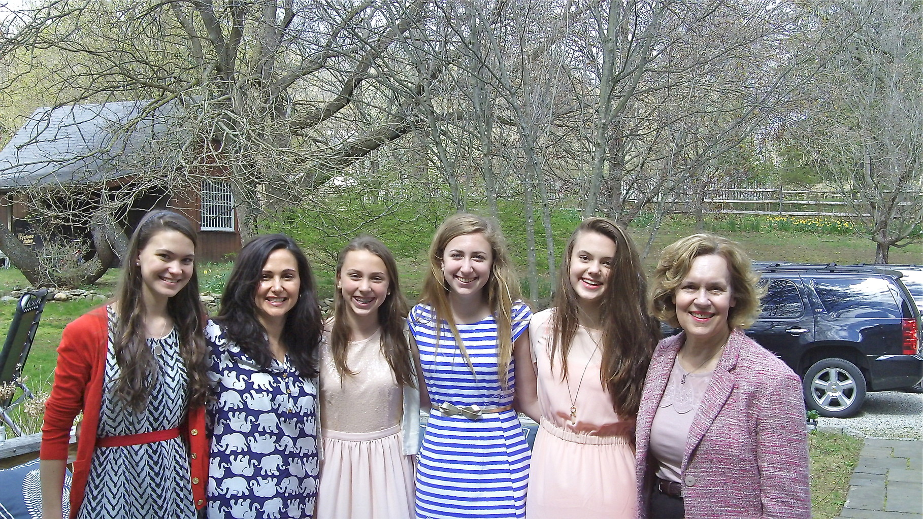 Ellie, Allie, Gabby, Emma, Kate, Lorraine at the party after the Communion