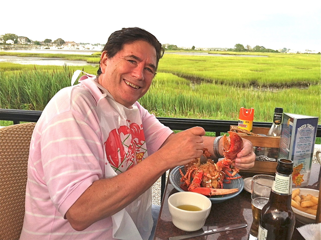 John loves lobster at Captain Jacks, Matunuck, RI