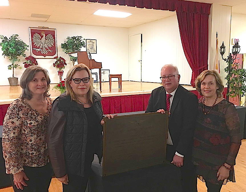 Cyndi, Celeste, the current President of the Polish Home, & Lorraine Gudas with a plaque honoring Paul Bogden, our grandfather!!