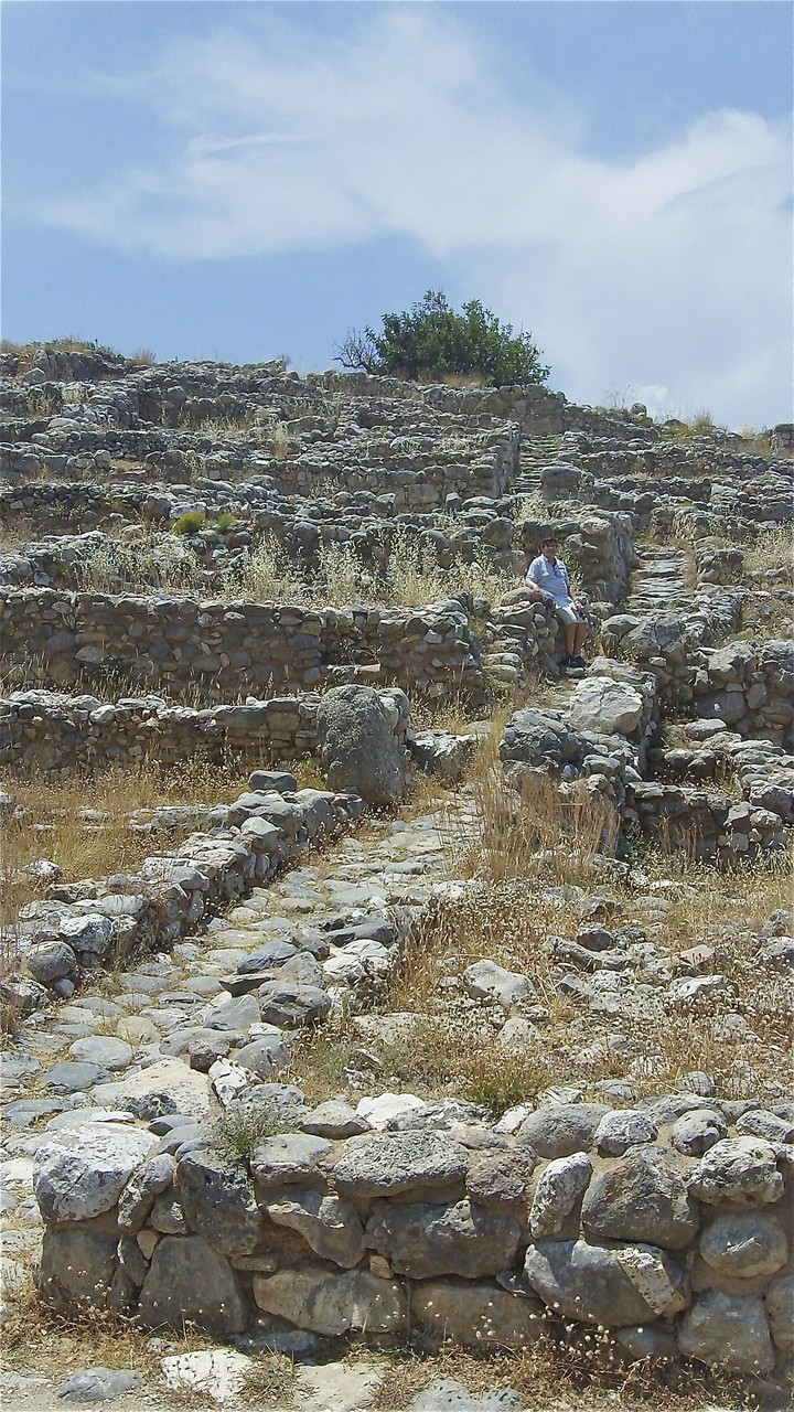 Minoan ruins, Gournia, Crete; John at steps of the town