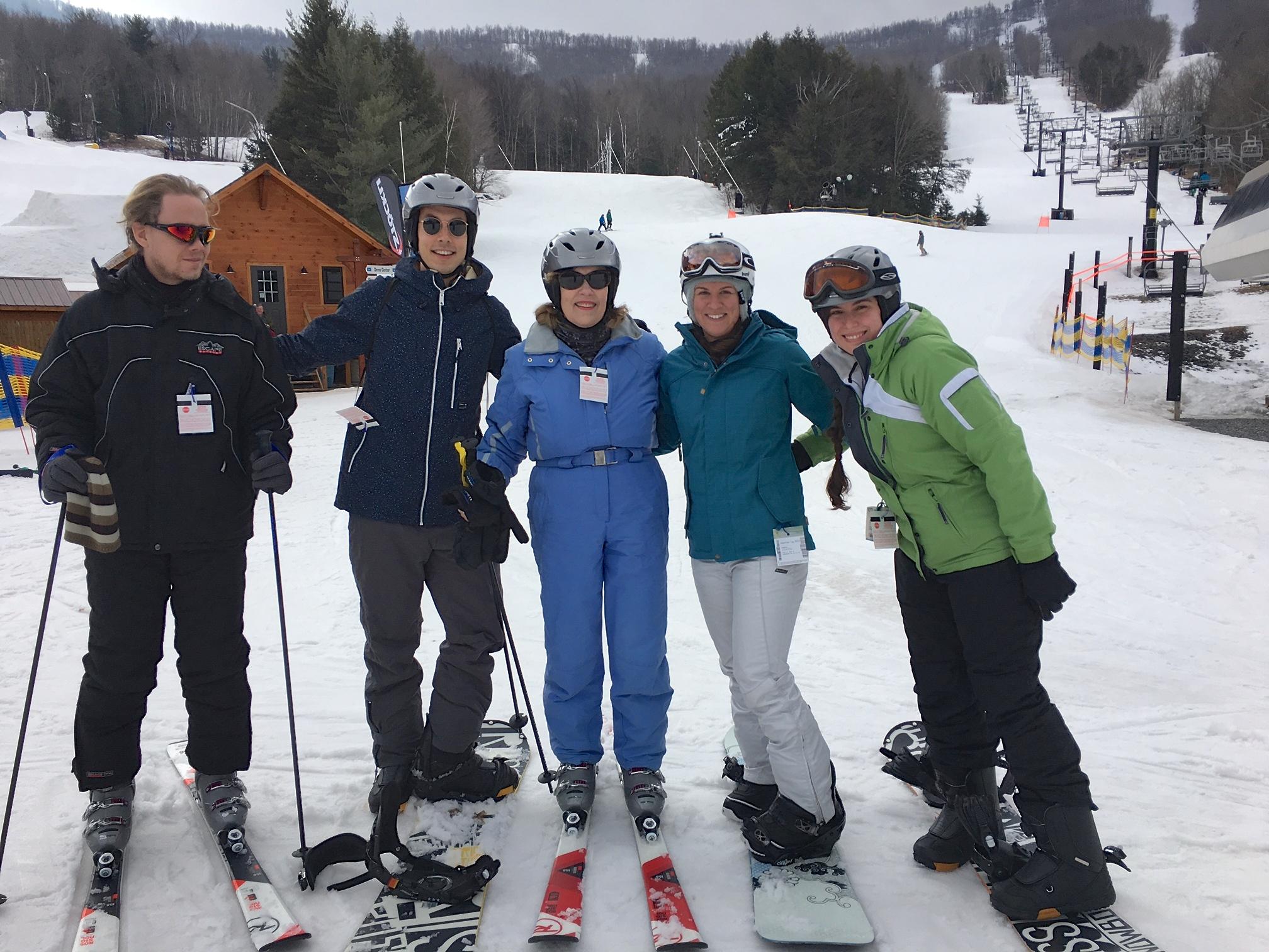 Kristian, Koen, Lorraine, Jocelin, Jackie, Feb. 14, 2018 skiing at Windham