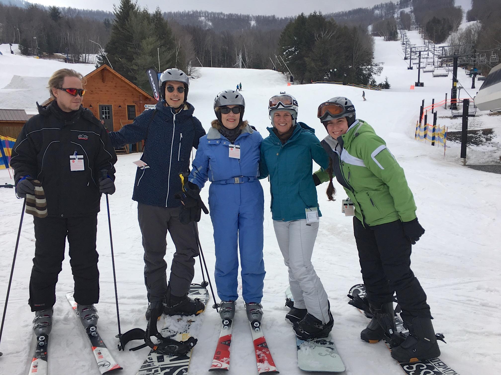 Kristian, Koen, Lorraine, Jocelin, Jackie, Feb. 14, 2018 skiing at Windham