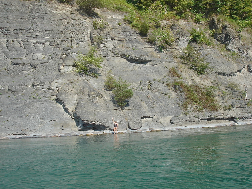 Lorraine at the fossil cliffs, Skaneateles Lake, Staghorn Beach