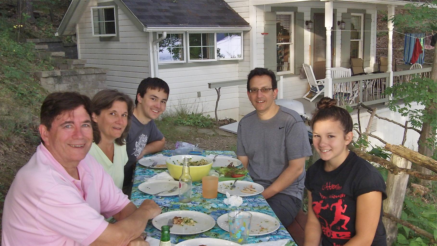 John Wagner, Cyndi, Trevan & Nick Signorelli, Sara, Aug. 2014 at Cyndi &