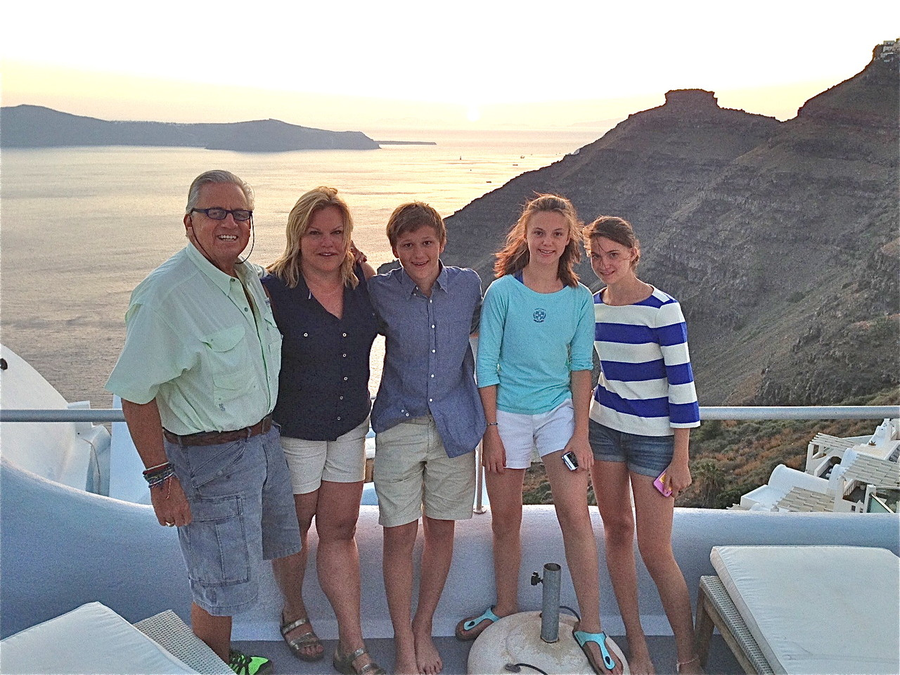 Stuart, Celeste,  Jack, Kate, &Ellie near Santorini, Greece, June, 2013