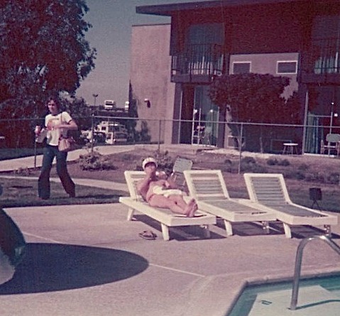 Lorraine walking, Al Kerr (coach) lounging by the pool in Riverside