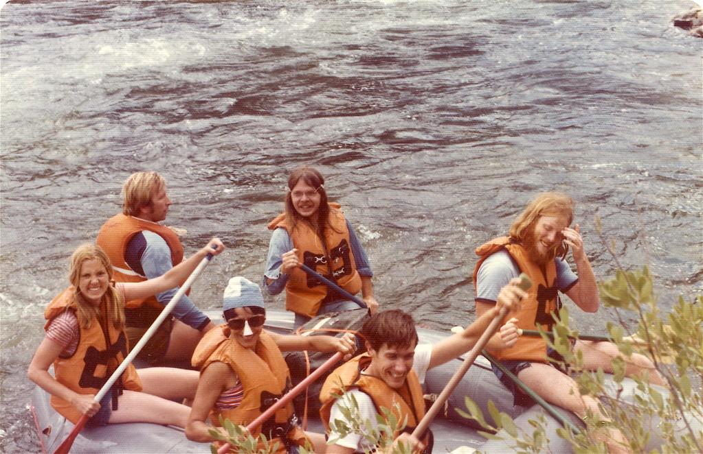rafting, Calif.  Shirley, ?, Sara Cohen, Steve Carlson, Mike Stallcup, Buddy Ul