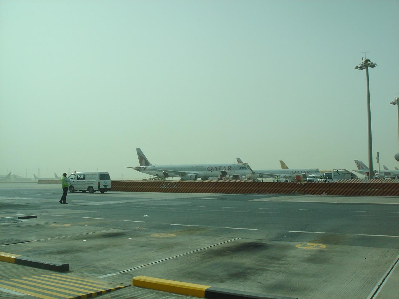 Airport, sandstorm, Doha