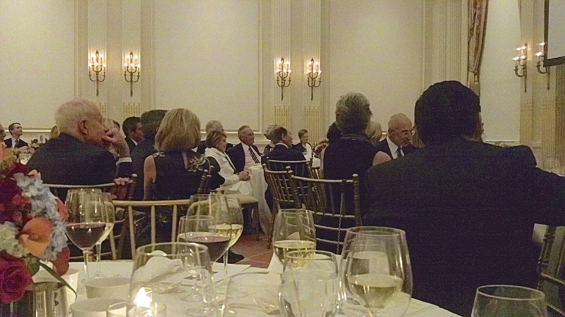 Joan & Sandy Weill, Hank Greenberg enjoy the jokes at the party.