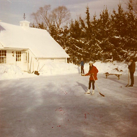 Celeste & John on skating rink at Lockwood Rd. 1970, Al's last rink