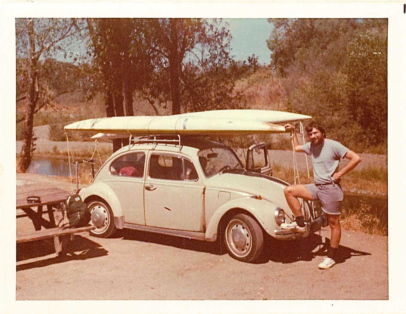 Kayaking on the Russian River, 1977 John, his car Jessica, and the kayaks