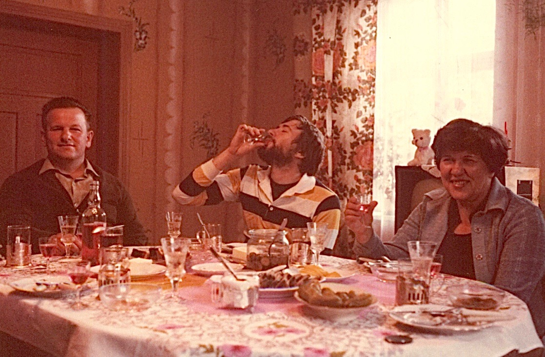 Anthony toasts John Wagner with vodka, Eleanor Bogden Gudas, 1978