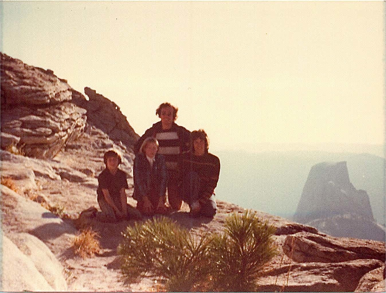 Gordon, Alison Kelly, Lorraine in front, Peter Strong behind, Clouds Rest, Yosemite