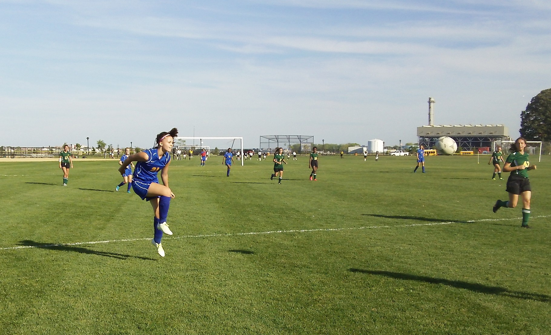 Kate playing soccer on Randall's Island, October, 2015, for York Prep