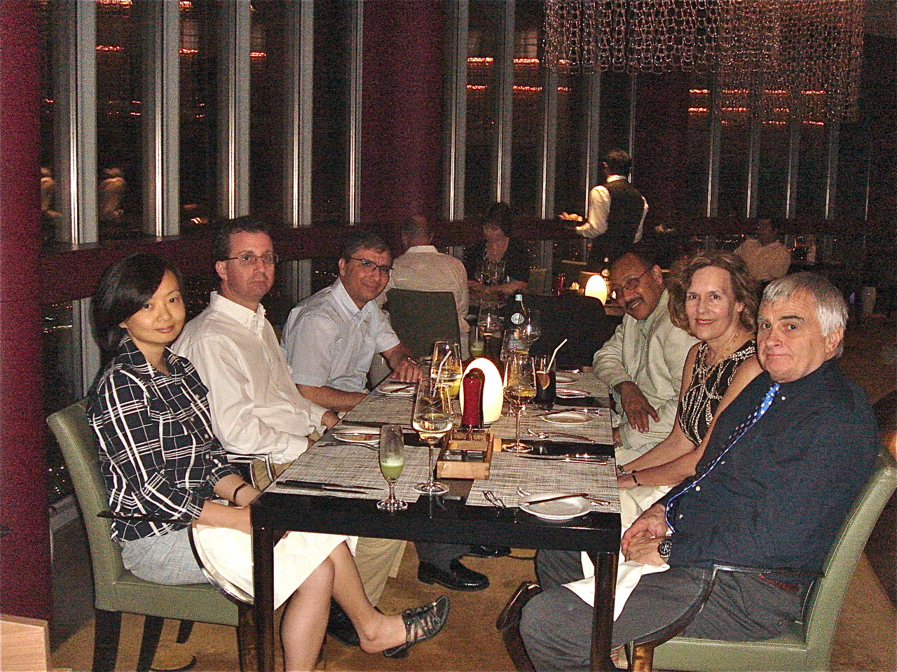 Lorraine with colleagues at dinner, the Torch, 360