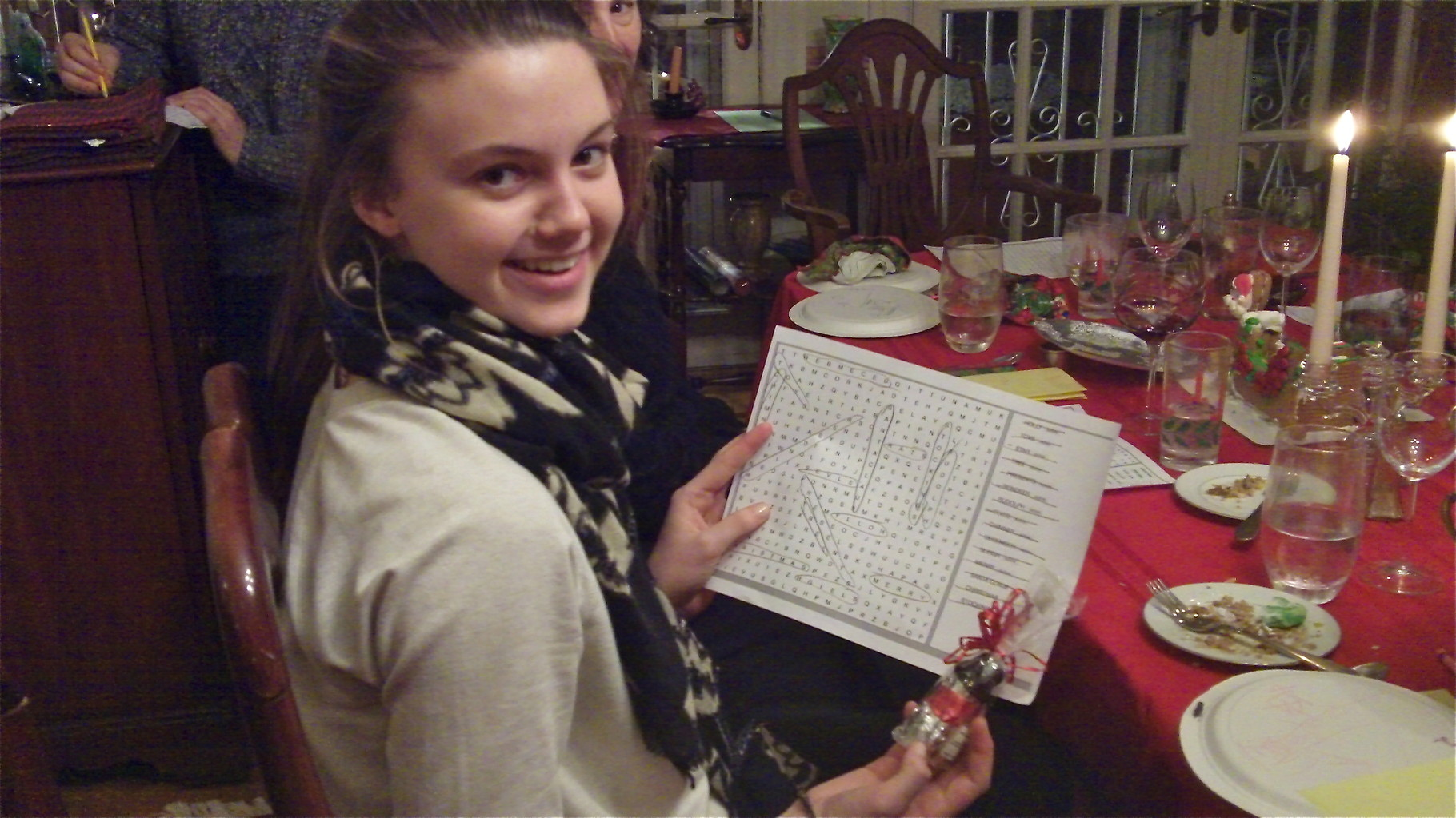 Kate wins the word search puzzle game..