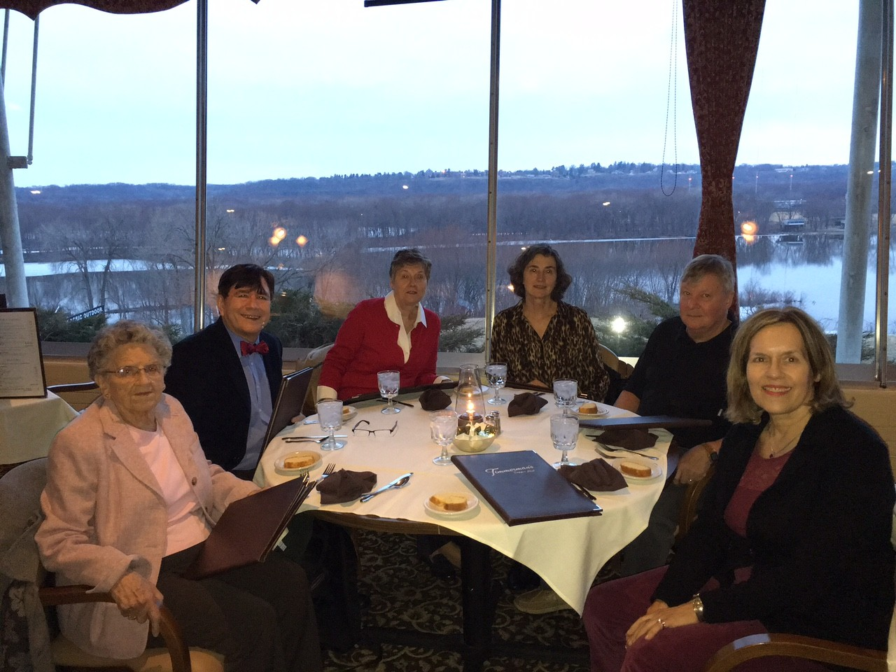 Mary Lou, John, Cindy Wagner, Ann & John Ackerman, Lorraine Gudas at Timmerman's Supper Club, Dubuque Iowa...Mississippi  River in bkground