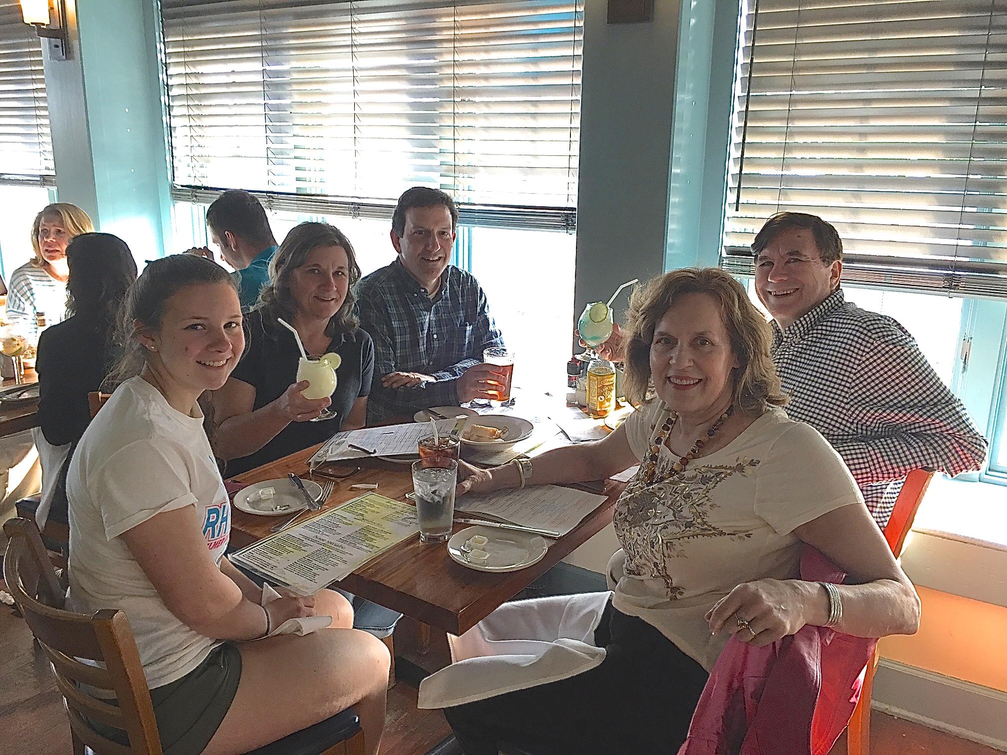 Skaneateles, NY 5-28-17  Sara, Cyndi & Nick Signorelli, John & Lorraine Gudas at the Blue Water Grill