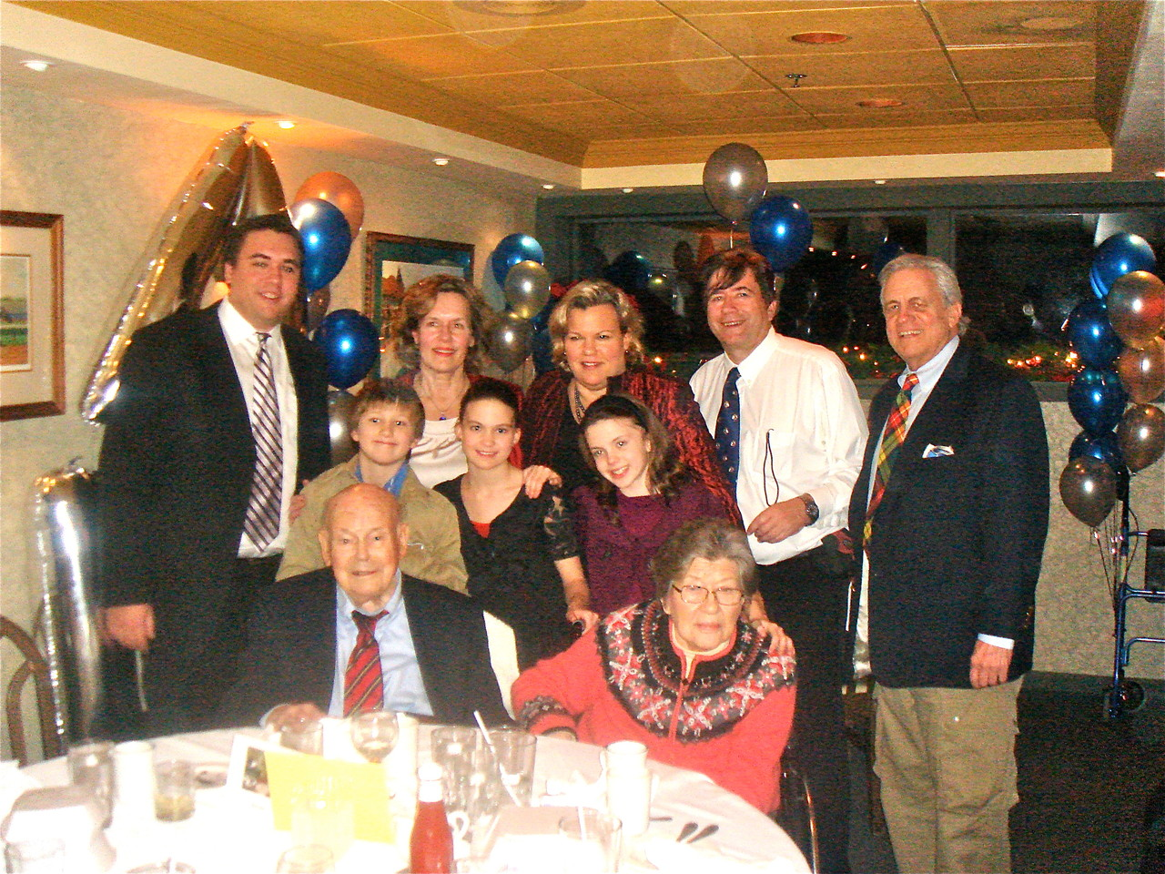 Back: Greg, Lorraine, Celeste, John, Stuart; middle: Jack, Ellie, Kate; front: Birthday Boy Al & Eleanor Gudas