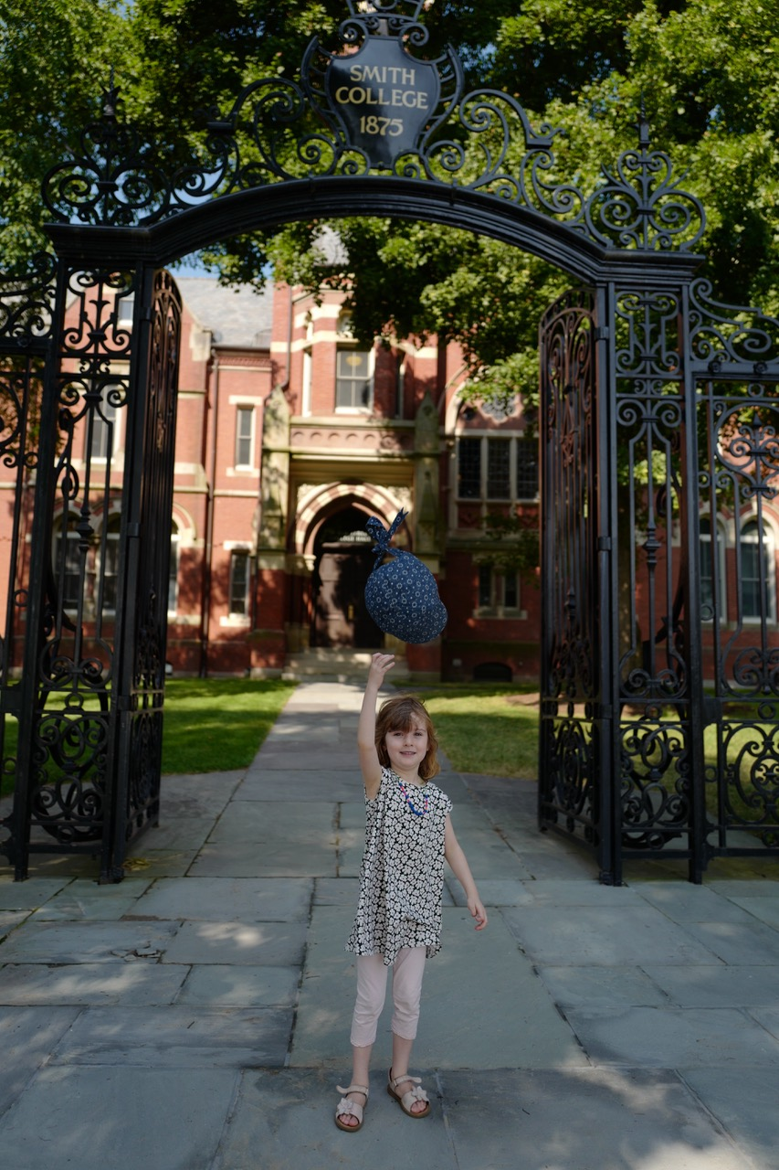 Celine, Nancy Hynes granddaughter, at the Smith College gates, July, 2019