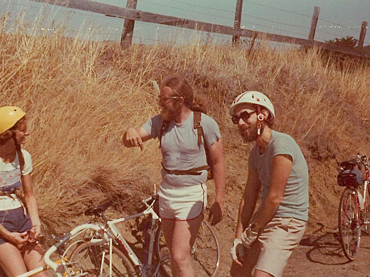 Janet Ring, Bob Bishop, Warren Levinson, Aug. 1977 bike trip