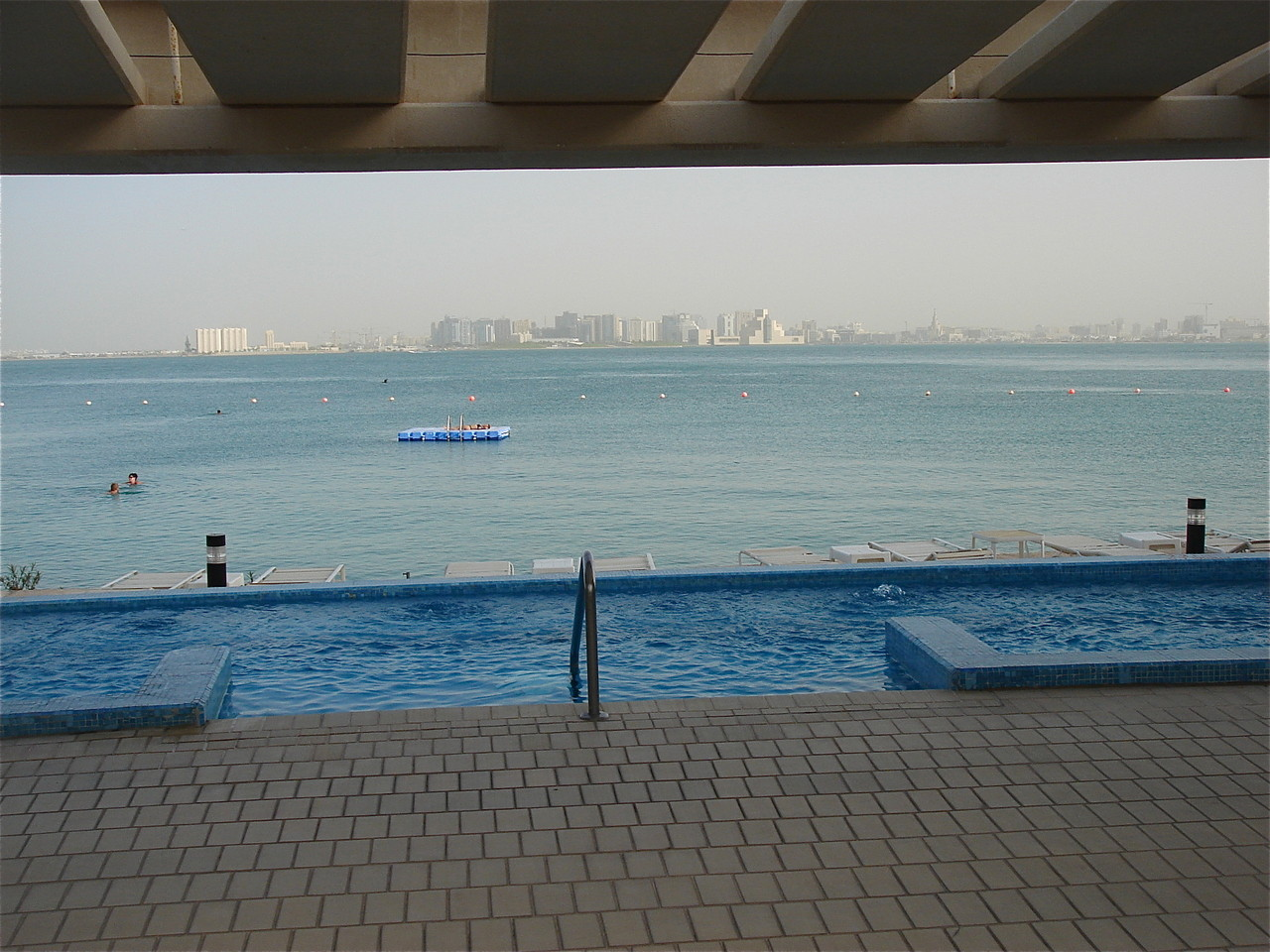 hot tub, looking out at the Persian Gulf & Islamic Art Museun