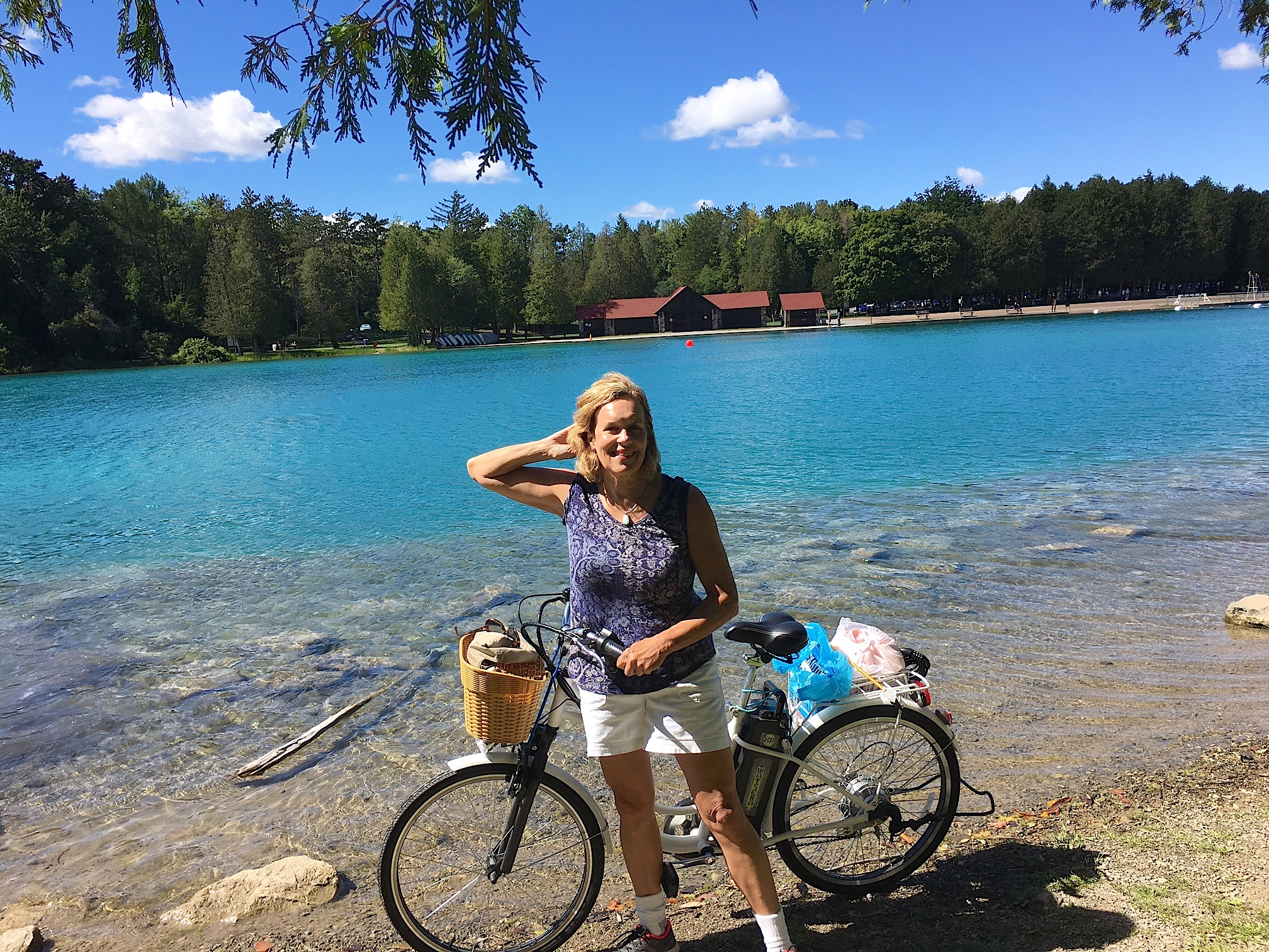 Lorraine biking & swimming at Green Lakes State Park, 9-10-16
