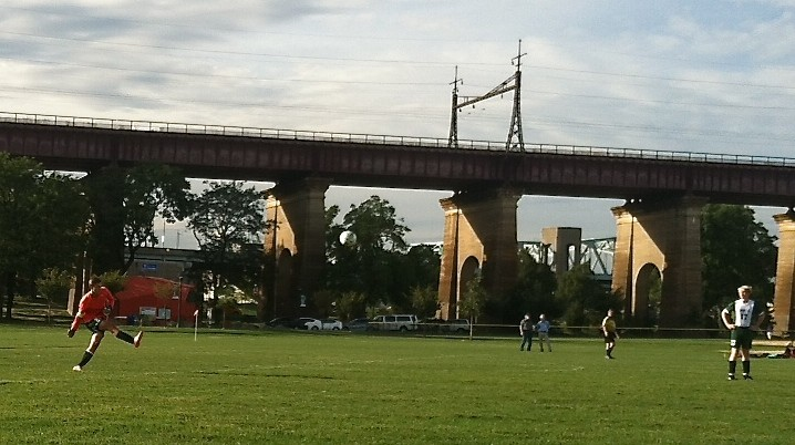 Jack  playing soccer on Randall's Island