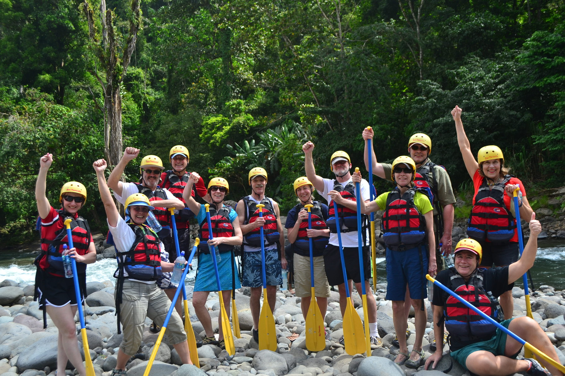 Whitewater rafting on the Pacuare River, Costa Rica, Feb. 4, 2016 Lorraine standing, John sitting far right.