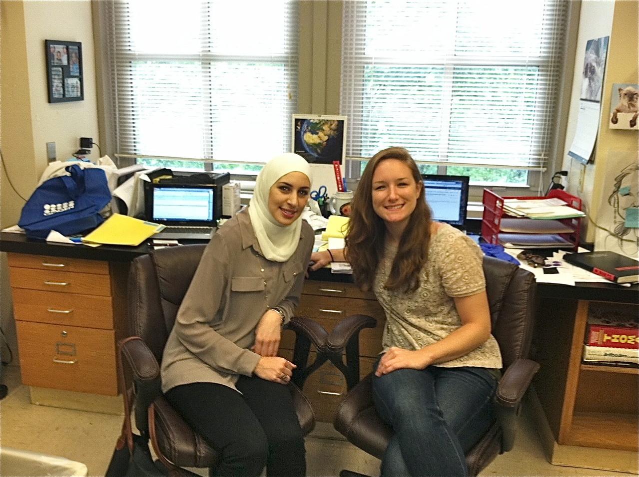 Weill Cornell-Qatar medical student Noor Nema & Abby Horstmann work on a summer project together, July 1, 2013
