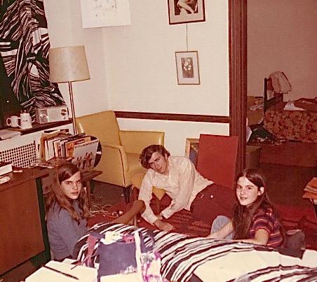 Tori, John, & Celeste in Lorraine & Pat Kitcher's room, Princeton Grad College, 1970
