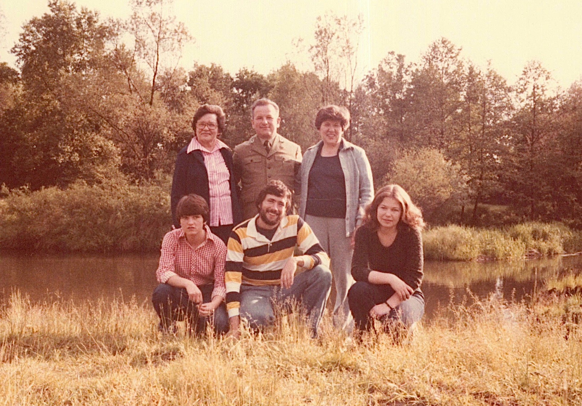 Mayme, Anthony, Eleanor -they are first cousins. Mayme & Eleanor are both daughters of Paul Bogden.  Halina, John Wagner, & Irena in front.