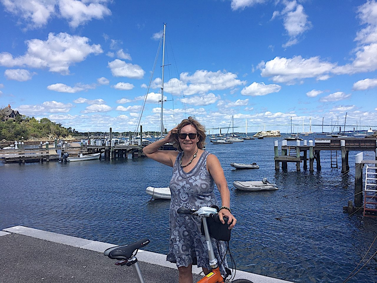 Lorraine in front of Newport Bridge, 8-30-20