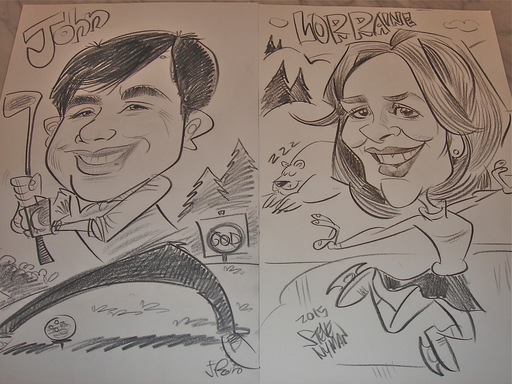 John & Lorraine's charicatures